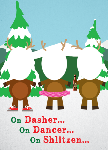 3 Reindeer Christmas Card Cover