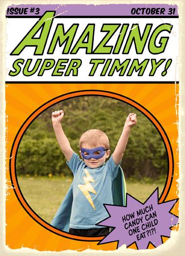 Amazing Superhero Halloween Card Cover