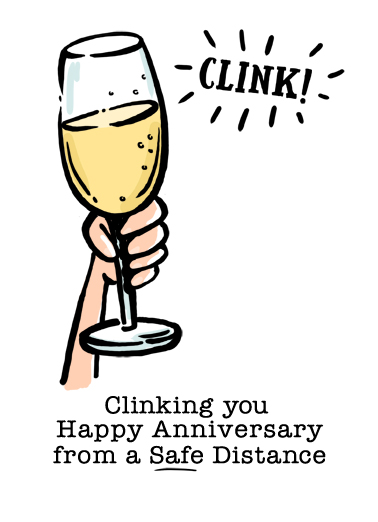 Anniversary Clink Glass Anniversary Card Cover
