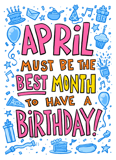 April Best Bday April Birthday Card Cover