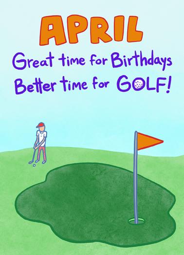 April Golfday April Birthday Card Cover