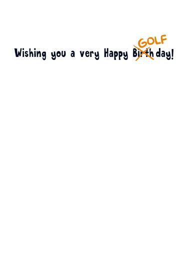 April Golfday April Birthday Card Inside
