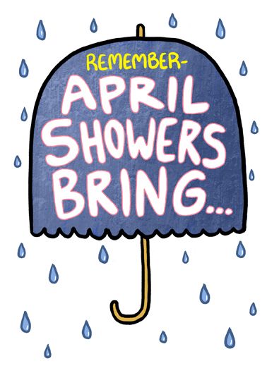 April Showers Bring April Birthday Card Cover