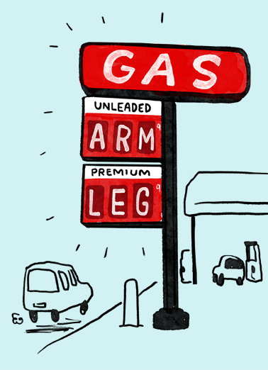 Arm Leg Gas Father's Day Card Cover