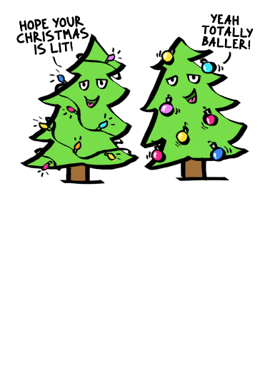 Baller Christmas Trees Christmas Ecard Cover