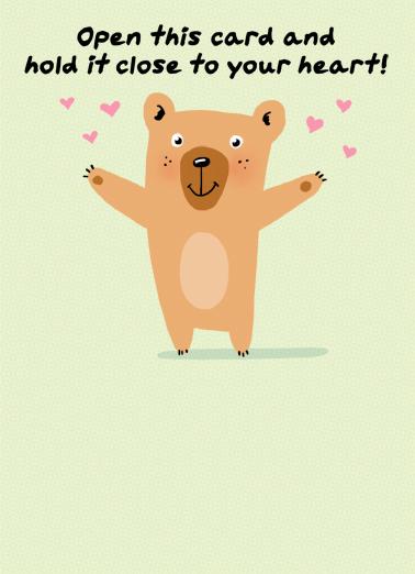 Bear Hug Social Distance One from the Heart Card Cover