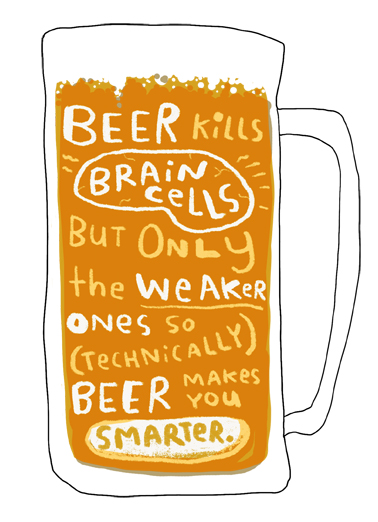Beer Brain Cells Drinking Ecard Cover