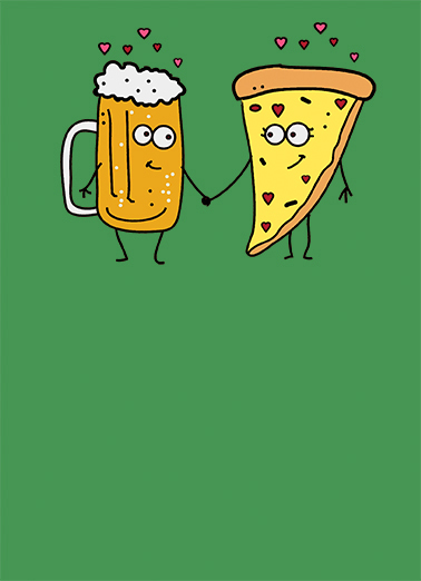 Beer and Pizza Anniv Anniversary Card Cover
