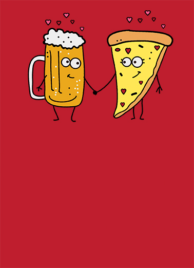Beer and Pizza Valentine's Day Card Cover