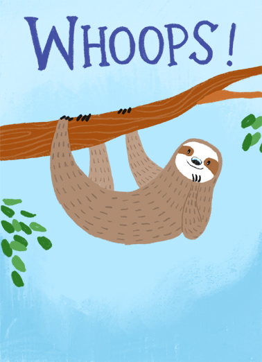 Belated Sloth BDAY Birthday Card Cover