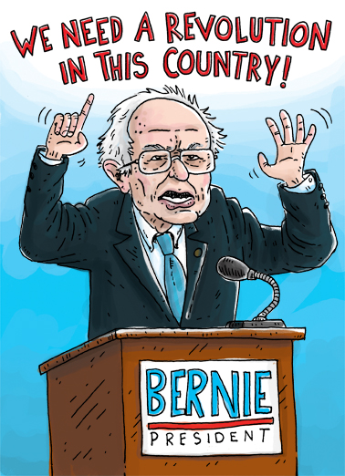 Bernie Revolution Birthday Card Cover
