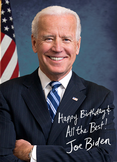 Biden Autograph Birthday Card Cover
