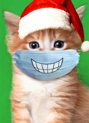 Big Smile Cat Xmas Christmas Card Cover