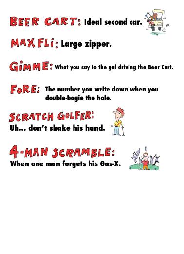 Birthday Golf Terms Birthday Card Inside