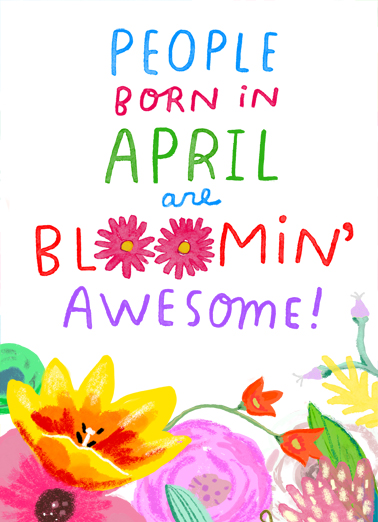 Bloomin Awesome April April Birthday Card Cover