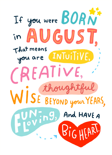 Born in August Birthday Card Cover