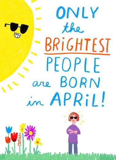 Brightest in April April Birthday Card Cover