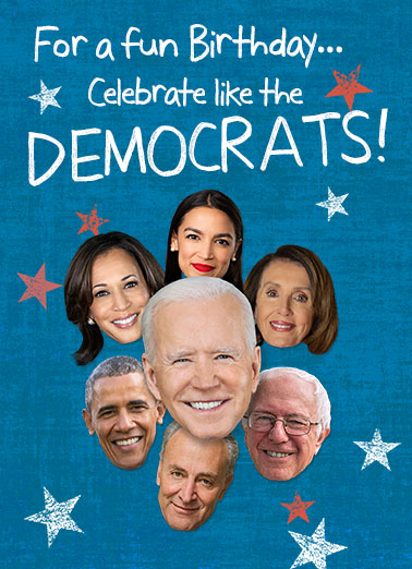 Celebrate Like Democrats Birthday Card Cover