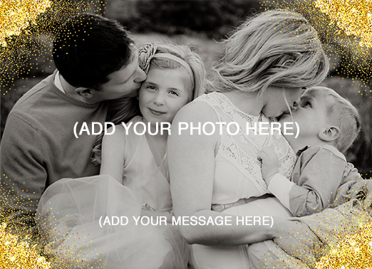 Fun Add Your Photo Christmas Cards and Flats Sweet gold faux foil glitter corner photo template | photography, border, shining, bright, pictures