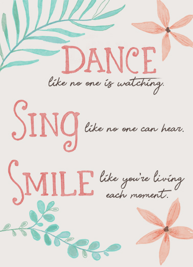 Dance Sing Smile Uplifting Cards Card Cover