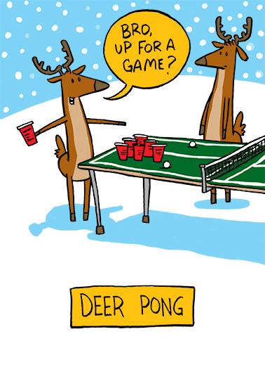 Deer Pong Christmas Ecard Cover