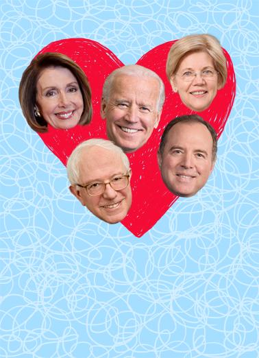 Democrat Heart Valentine's Day Card Cover