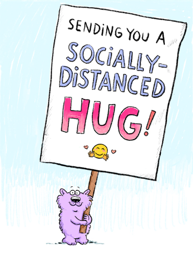 Distanced Hug Bday Quarantine Card Cover