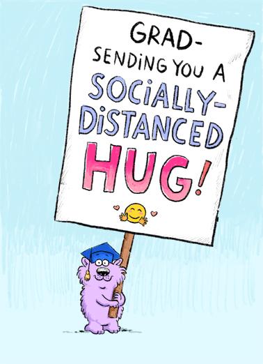 Distanced Hug GRAD Graduation Ecard Cover