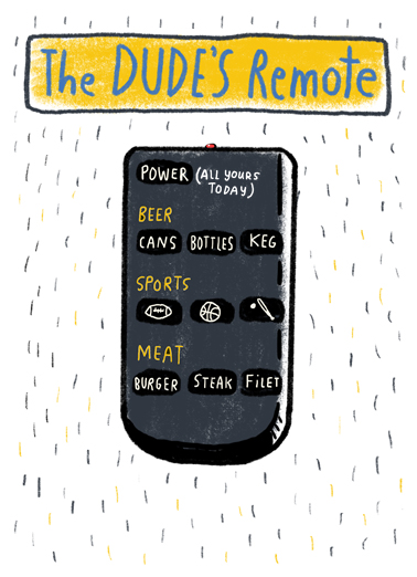 Dude Remote Birthday Card Cover