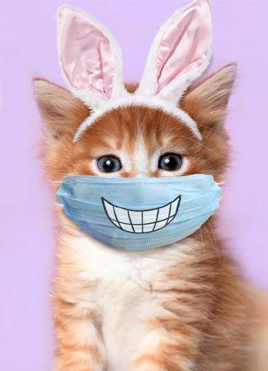 Easter Cat Smile Mask  Card Cover
