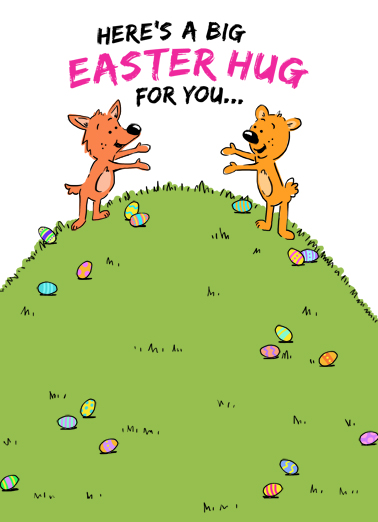 Easter Critters Hugging Easter Ecard Cover