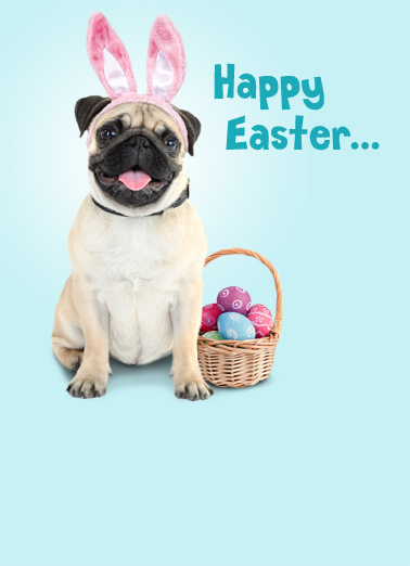 Easter Pugs Kisses Easter Card Cover