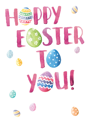 Easter Watercolor Eggs Easter Ecard Cover