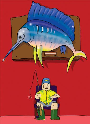Fishing Dad Funny Animals Ecard Cover