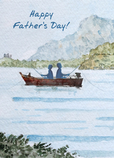Fishing Watercolor Father's Day Ecard Cover