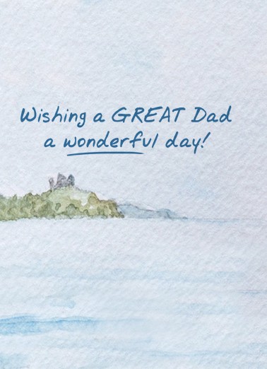 Fishing Watercolor Father's Day Ecard Inside