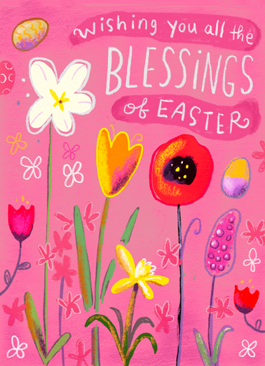 Floral Blessings Easter Card Cover