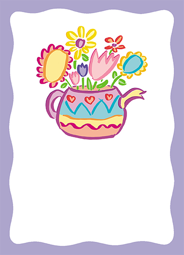 Floral Teapot One from the Heart Card Cover