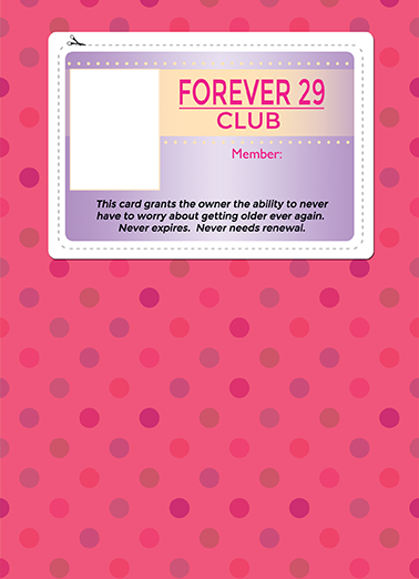 Forever 29 Birthday Card Cover