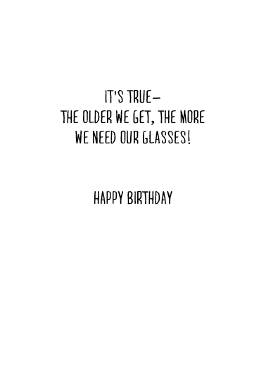 Glasses Birthday Card Inside