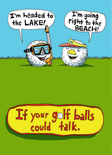 Golf Balls Could Talk Birthday Card Cover