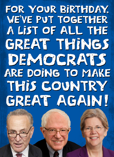 Great Things Dems Birthday Card Cover