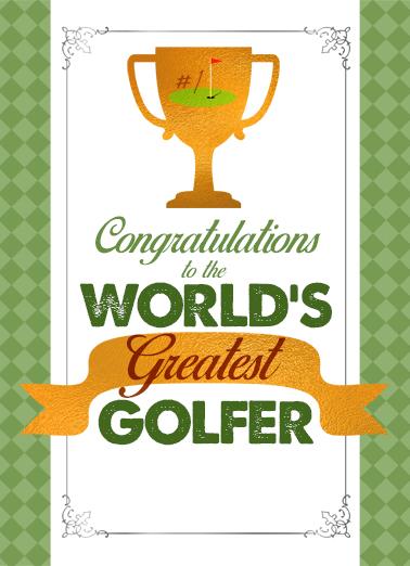 Greatest Golfer Award Congratulations Card Cover