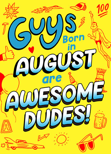 Guys Born in August Birthday Card Cover