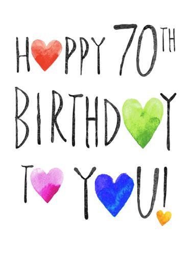 Happy 70th Hearts Birthday Card Cover