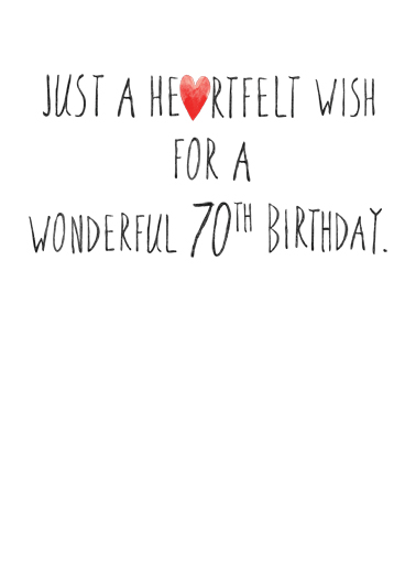 Happy 70th Hearts Birthday Card Inside