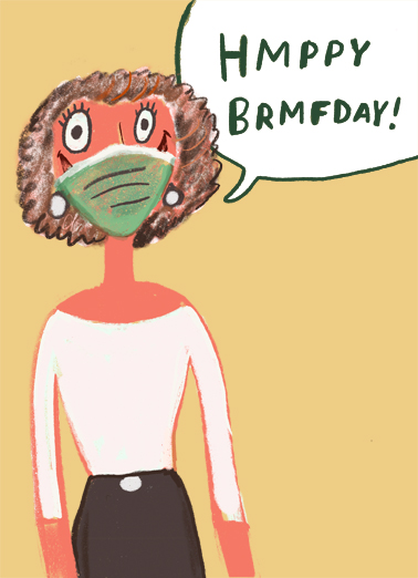 Happy Birthday Mask Quarantine Card Cover