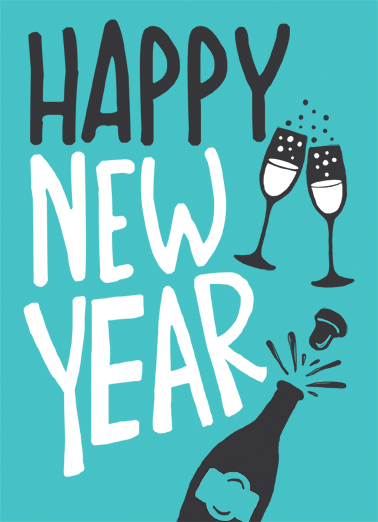 Happy New Year Champagne Drinking Ecard Cover