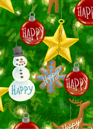 Happy Ornaments Christmas Ecard Cover