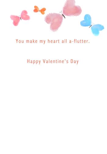 Heart Butterflies Valentine's Day Card Inside